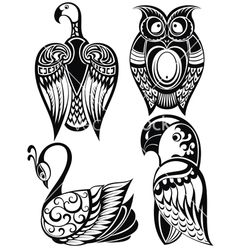 Birds icons vector tattoo by galina on VectorStock®