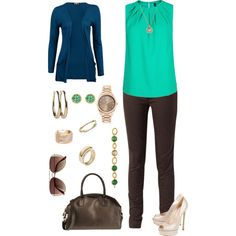 Green Top with Brown Skinny Jeans - Polyvore