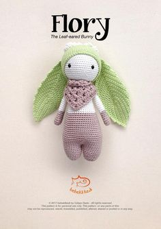 PATTERN FLORY the Leaf-eared Bunny /crochet pattern/