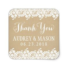 Wedding Favor Sticker | Lace and Kraft #wedding #craft #supplies