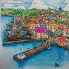 Fantastic Cities adult colouring book --> For the top coloring books and writing utensils including colored pencils, gel pens, watercolors and drawing markers, go to our website at http://ColoringToolkit.com. Color... Relax... Chill.