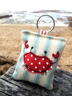 Crab key ring freehand machine embroidered by TheHandmadeHut on Etsy