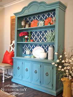 Turquoise China Hutch  Open Shelving by noteworthyhome on Etsy, $599.00