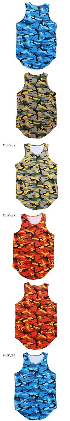MUSVER Camo Tank Top Men 2017 Summer Camouflage Oversize Streetwear Longline Hip Hop Cotton Sleeveless Tank Tops For Men