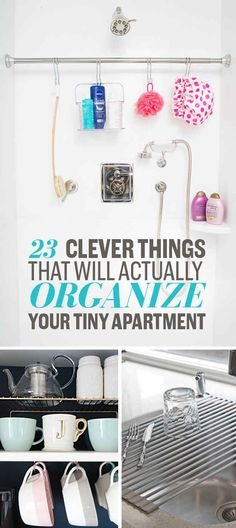 22 Clever Ways To Actually Organize Your Tiny Apartment is part of Apartment Organization Ideas - Phenomenal organizing powers Itty bitty living space Small Apartment Living, Small Apartment Decorating, Small Apartment Hacks, Apartment Space Saving, Clean Apartment, Tiny Space Hacks, Small Living Spaces, College Apartment Decorations, Shoe Storage Ideas For Small Spaces