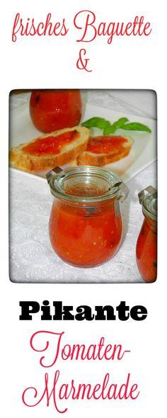 Eine leckere pikante Tomaten-Marmelade mit frischem Baguette, mehr brauche ich nicht um zu Genießen. Vielleicht hört sich Tomatenmarmelade für Euch etwas eigenartig an, aber glaubt mir, Ihr werdet eine Kombination aus der Schärfe der Chili, den intensiven Geschmack der Tomate und den süßen Geschmack lieben.