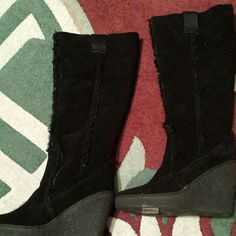 Cute Steve Madden Black Leather (Suede) Boots