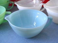 The Kitschy Collectors favorites in vintage kitchen collectibles.   Visit my blog http://cdiannezweig.blogspot.com/ and my site http://iantiqueonline.ning.com/  fireking turquoise batter bowl* :) by ilovehesby, via Flickr