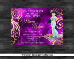 Princess Jasmine Birthday Party Invitation Digital By Rockreations 1300 Aladdin