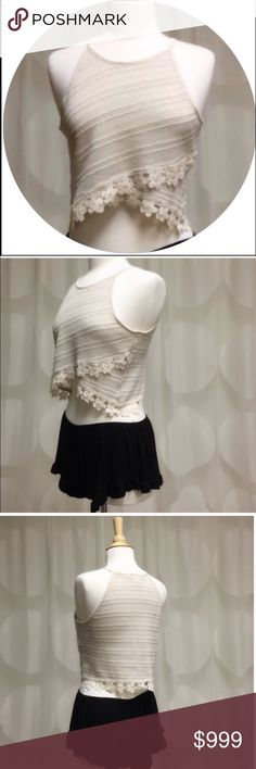 ❗️FINAL PRICE❗️✨LACE TRIMMED CROP TOP✨ - LARGE Stunning lace trimmed cropped top in Beige. Perfect for Summer with your favorite shorts, jeans or skirts. Excellent quality. Regular fit.  Runs true to size. 76% Cotton; 21% Polyester; 3% Spandex. Made in the USA . THIS LISTING IS FOR A LARGE, AND iS AVAILABLE TO PURCHASE. ✅OFFERS CONSIDERED ✅ April Spirit Tops Crop Tops