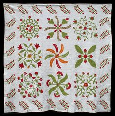 From Quilt Complex, Unknown Quilt Maker, Collected in New Jersey, 96 x 96 inches, Circa 1860., Cottons