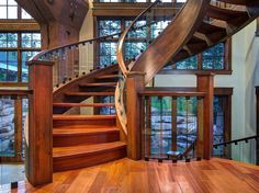 steel wood & glass floating staircase in a wonderful mountain home...
