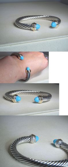 Gemstone 164315: David Yurman 7Mm Turquoise 14K Yellow Gold And Sterling Silver Cuff Bracelet -> BUY IT NOW ONLY: $550.0 on eBay!