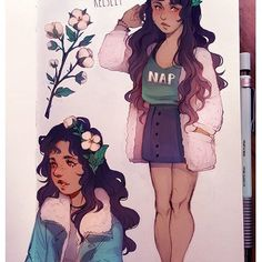Cottonpuff character design! What do you think? I've been interested in making this a series, like human forms of flowers/mushrooms/plants etc.  This girl will be an oc thought! Her nickname is Cottonpuff bc she likes super fluffy clothes. Still writing stuff for her but i want to draw her in future illustrations #characterdesign #flowergirls #digitalart #كلنا_رسامين
