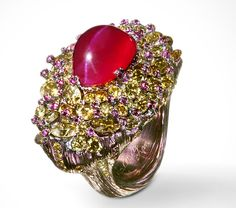 """""""Beauty of Chaos""""  Ring by Wallace Chan. This ring speaks of the sometimes random appearance of Nature contrasting with the smooth perfection of the ruby. The 13 ct cat's eye ruby is surrounded by rubies and fancy colored diamonds.The titanium structure of the ring matches the stones and is in the form of a tree."""