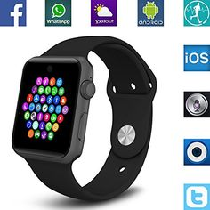 Banaus BS19 Newest SmartWatch with Bluetooth 4.0 Support SIM Watch Phone for Android Samsung Galaxy S4/S5/S6/S7/Note3/Note4/Note5/Note6 HTC Sony LG Xiaomi Huawei ZUK and iPhone 5/5C/5S/6/6S Black -- See this great product.