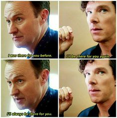Ah, Holmes brothers. Mycroft is always sneering at sentiment but he shows an awful lot of it for Sherlock. Sherlock Holmes Bbc, Sherlock Fandom, Sherlock Quotes, Sherlock John, Watson Sherlock, Jim Moriarty, Sherlock Poster, Funny Sherlock, Sherlock Season