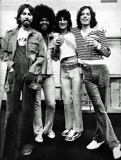 George Harrison, Billy Preston, Ronnie Wood and Mick Jagger
