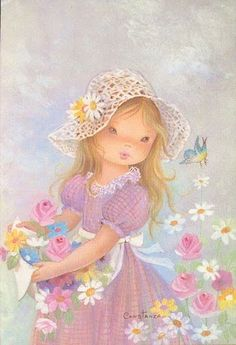 So beautiful by Constanza- SS Vintage Cards, Vintage Postcards, Vintage Images, Holly Hobbie, Decoupage Vintage, Art Mignon, Goeie More, Girl Clipart, Sarah Kay
