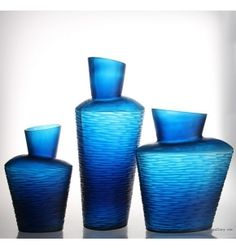 Engraved high quality ink blue glass vases