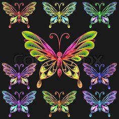 vector set colorful butterflies
