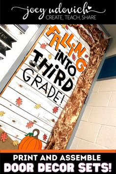 This September Door Decoration set for is perfect to bring Autumn to your pre-K, Kindergarten, 1st, 2nd, 3rd, 4t, 5th, 6th, 7th, 8th, 9th, 10th, 11th, 12th grade. Capture the essence of Fall with the pumpkin, leaves & tree. This download includes three different sizes of all the letters, pre-colored leaves, tips and tricks to assemble & video suggestion on how to use this with your CRICUT machine. (preschool, Kindy, first, second, third, fourth, fifth, sixth graders, middle school, high school) Middle School Classroom, Classroom Door, Back To School, High School, Bulletin Board Display, Bulletin Boards, Colored Leaves, Pumpkin Leaves, Board Decoration