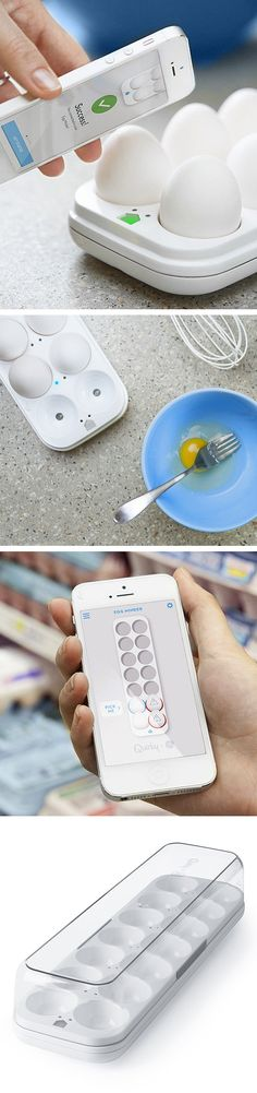 Smart Egg Minder // Wirelessly connects to any smartphone to remind you when eggs are approaching the expiration date and even tells you when they are running low! Built-in LED indicators show which eggs are the oldest and need to be used. Genius! #kitchen #gadget #product_design