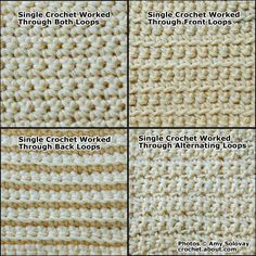 Single Crochet Stitch Plus Several Variations of Single Crochet
