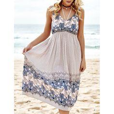 Bohemian Women's V-Neck Sleeveless Paisley Dress #CLICK! #clothing, #shoes, #jewelry, #women, #men, #hats, #watches