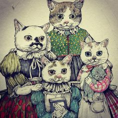 Japanese Artwork, Fairytale Art, Vintage Cat, Typography Prints, Cat Drawing, Artist Art, Cat Love, Crazy Cats, Cool Cats