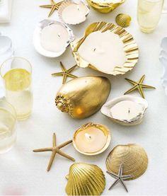 A golden seaside/beach wedding idea | Salacia blue would be a perfect addition :)