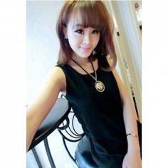 Concise Bright Color Women's Chiffon Vest Black Vest, Chiffon, Bright, Color, Silk Fabric, Sheer Chiffon, Colour, Colors
