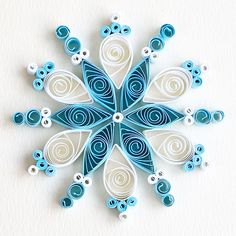 6 point turquoise and white quilled snowflake   Flickr - Photo Sharing!
