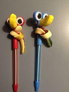 Deze grappige 'vogeltjes' trakteerde onze zoon op z'n 7e verjaardag. Erg eenvoudig, van te voren te maken en erg grappig. Wiebelpen met een neus van een bananenschuimpje, slangetje als sjaaltje