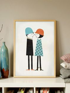 'Couple in Love' is a beautiful illustration on a poster by the great Spanish illustrator Blanca Gómez. Published in Human Empire Artist Series, in Poster Digital, Watercolor Video, Love Posters, Boho Diy, Couples In Love, Fall Crafts, Illustrators, Illustration Art, Art Illustrations