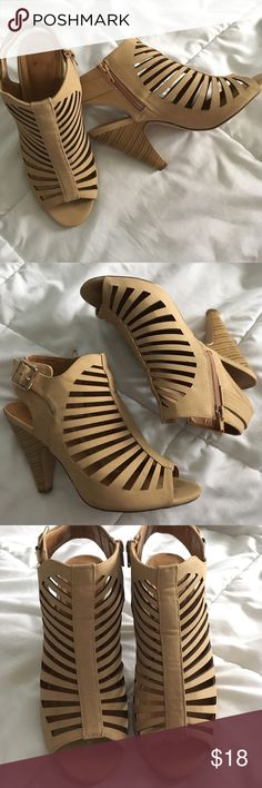 Comfortable short thick heels caged Like new. Worn only for work about 5 times. No rips or stains in great condition! Color is a light tan. NOT boohoo❗️ Boohoo Shoes Ankle Boots & Booties