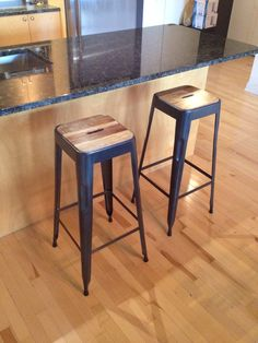 http://www.rusticfurnitureoutlet.ca/condorcollection.html  Stunning industrial acacia bar stools   Selling for 89$ each perfect for condo furniture