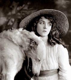 Olive Thomas & a Gorgeous Borzoi,  c.1919 , by Hartsook LA
