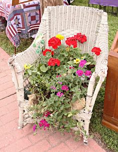 French Larkspur: 3 French Hens Market Part Two - Chair Planter