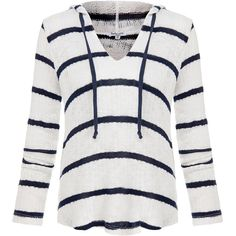 Splendid White and Navy Serengeti Stripe Loose-Knit Hoodie ($75) ❤ liked on Polyvore featuring tops, hoodies, sweaters, long sleeves, jackets, white, striped hooded sweatshirt, white knit top, hooded pullover and hooded sweatshirt