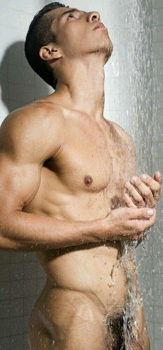 Muscluar studs jump in the shower