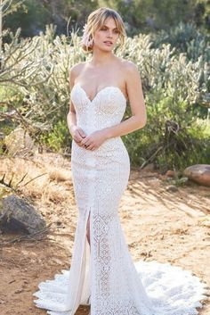 Strapless Venice lace sheath with geometric pattern, available off-the-rack at Silk Bridal Studio. Bridal Corset, Bridal Gowns, New Wedding Dresses, Designer Wedding Dresses, Sincerity Bridal, Types Of Gowns, Lillian West, Blush Bridal, Bridal And Formal