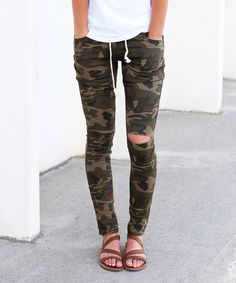 Look at this So Perla Camo Distressed Drawstring Joggers on #zulily today!