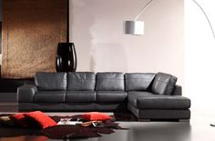 Stylish Design Furniture - Bella Italia Leather 260 Sectional Sofa in Black, $2,445.00 (http://www.stylishdesignfurniture.com/products/bella-italia-leather-260-sectional-sofa-in-black.html)