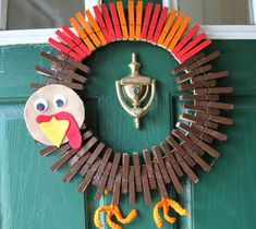 Thanksgiving Wreath - Whimsical Turkey Wreath - Thanksgiving Turkey - Fall Home Decor - Gobble - Crocheted Wreath - Clothespin Wreath Thanksgiving Wreaths, Fall Wreaths, Thanksgiving Decorations, Thanksgiving Turkey, Easter Wreaths, Patriotic Wreath, 4th Of July Wreath, Fall Crafts, Holiday Crafts