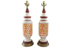 Pair of Tall Yellow and Orange Floral Table Lamps - $329