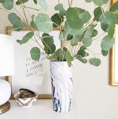 Blue Swirl Vase with Eucalyptus