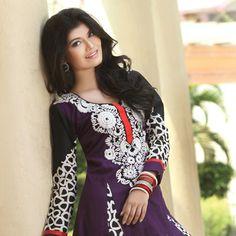 Dark #Purple #Cotton #Churidar Kameez
