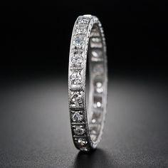 Antique diamond and platinum wedding band