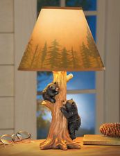 Collections Etc Climbing Bear Family Northwoods Lamp